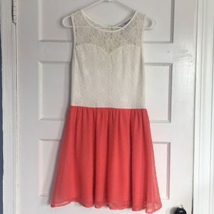 Francesca's Lace and Coral Dress